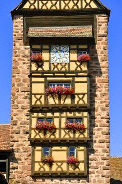 HMS3587579 France, Haut Rhin, Alsace Wine Road, Riquewihr village, labelled Les Plus Beaux Villages de France (The Most Beautiful Villages of France), the Dolder, city gate