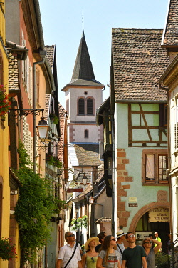 HMS3587591 France, Haut Rhin, Alsace Wine Route, Riquewihr, labelled Les Plus Beaux Villages de France (The Most Beautiful Villages of France), traditionals half timbered houses, catholic church