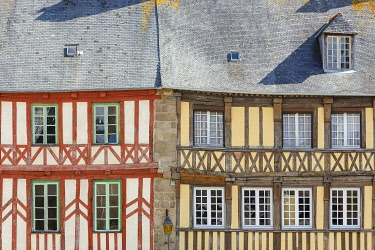 HMS3593599 France, Cotes d'Armor, Treguier, detail of the facade of a half timbered house on Martray square