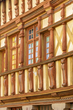 HMS3593606 France, Cotes d'Armor, Treguier, detail of the facade of the native house of Ernest Renan, a half timbered house which dates back to the 16th century today Ernest Renan museum