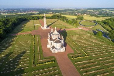 HMS3568999 France, Pas de Calais, Ablain Saint Nazaire, National cemetery of Notre-Dame-de-Lorette and memory ring (aerial view)