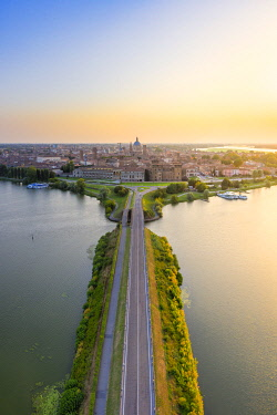 CLKAC122914 Aerial view of Mantua, Lombardy, Italy, Europe