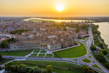 CLKAC122917 Aerial view of Mantua, Lombardy, Italy, Europe