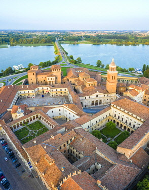 CLKAC122918 Aerial view of the old town of Mantua, Lombardy, Italy, Europe