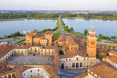 CLKAC122919 Aerial view of the old town of Mantua, Lombardy, Italy, Europe