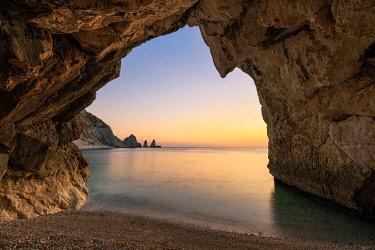 CLKAC122961 The Due Sorelle (Two Sisters) beach, Conero Riviera, Sirolo, Ancona province, Marche, Italy