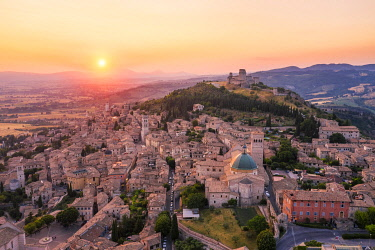 CLKAC122983 Sunset over Assisi, Perugia province, Umbria, Italy, Europe
