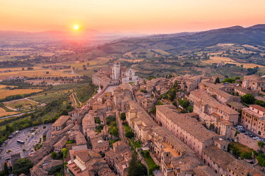 CLKAC122986 Sunset over Assisi, Perugia province, Umbria, Italy, Europe