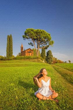 CLKAG119304 Girl take relax on meadows, Pomelasca, Inverigo, Como province, Brianza, Lombardy, Italy, Europe (MR)