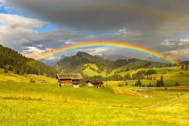 CLKAG119350 Rainbow on Alpe di Siusi/Seiser Alm, South Tyrol, Bolzano province, Trentino Alto Adige, Italy, Europe
