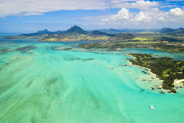 CLKCC118759 aerial view of Ile aux Cerfs in winter time, Mauritius, Indian Ocean, Africa