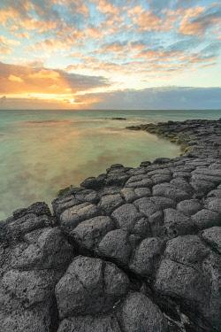 CLKCC119375 a magical sunrise whit basaltic stone, Trou d'Eau Douce, Mauritius, Indian Ocean, Africa