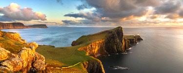 CLKFR119194 Panorama of Neist Point lighthouse, Waterstein. Isle of Skye, Scotland,