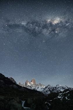 CLKFV118125 Starry sky above Mt Fitz Roy. El Chalten, Santa Cruz province, Argentina.