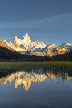 CLKFV118133 Fitz Roy reflection at dawn from Mirador Fitz Roy. El Chalten, Santa Cruz province, Argentina.