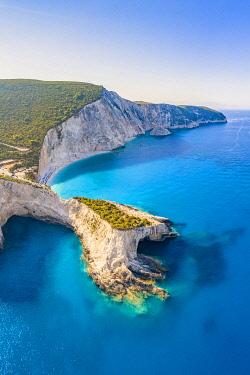 CLKFV121267 Arial view of the bay of Porto Katsiki, Lefkada, Ionian Islands region, Greece.