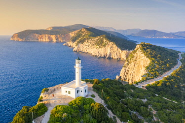 CLKFV121296 Aerial view of the lighthouse of Cape Lefkatas, Lefkada, Ionian Islands region, Greece.