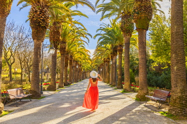 CLKGA115411 Woman in a salmon pink dress walking along an avenue lined with palms trees in the public Ibleo Garden, Ragusa Ibla,Ragusa, Sicily, Italy  (MR)