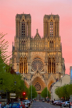 HMS3506312 France, Marne, Reims, Notre Dame cathedral, listed as World Heritage by UNESCO, the western frontage