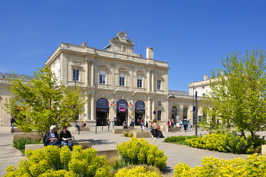 HMS3526221 France, Marne, Reims, train station, facade