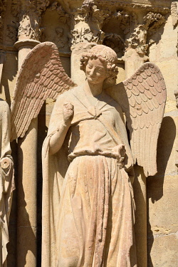 HMS3526234 France, Marne, Reims, Notre Dame cathedral, angel with a smile carved between 1236 and 1245 and located at the north left portal