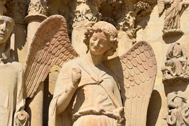 France, Marne, Reims, Notre Dame cathedral, angel with a smile carved between 1236 and 1245 and located at the north left portal