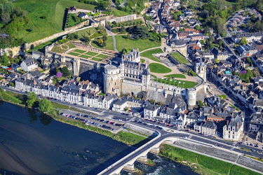 HMS3501282 France, Indre et Loire, Loire valley listed as World Heritage by UNESCO, view of city and castle of Amboise (aerial view)