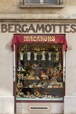 HMS3641589 France, Meurthe et Moselle, Nancy, front window of delicatessen biscuits, chocolate and delicatessen Lefevre Lemoine shop in rue Raymond Poincarre (Poincarre street)