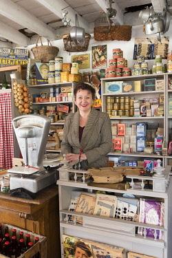 HMS3561147 France, Manche, Cotentin, Carentan, L'Atelier of Carentan, cafe-grocery store of the Second World War, Sylvie Caillard