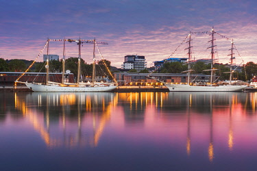 HMS3576218 France, Seine Maritime, Rouen, Armada 2019, sky and tall ships reflection on the Seine River at sunrise
