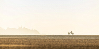 HMS3481200 France, Somme, Baie de Somme, Natural Reserve of the Baie de Somme, Le Crotoy, horseback riders walk in the bay at low tide (Baie de Somme), the silhouette of Le Crotoy emerges from the mist