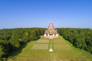 HMS3568987 France, Somme, Thiepval, Franco-British memorial commemorating the Franco-British offensive of the Battle of the Somme in 1916, French graves in the foreground (arial view)