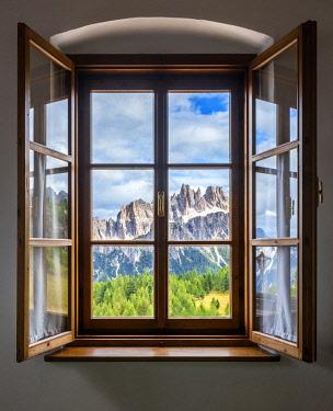 CLKMB116501 A view of Lastoi de Formin from my room at Rifugio Cinque Torri, Belluno, Dolomiti Ampezzane, Veneto, Italy, Western Europe