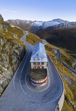 CLKMC119651 Aerial view of the Belvedere Hotel and the Furka Pass road,  famous for a scene of the James Bond film Goldfinger, a high mountain pass in the Swiss Alps connecting Gletsch, Valais with Realp, Uri. Ob...