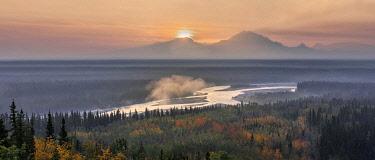 CLKMG118044 Copper river at sunrise, near copper center, Alaska