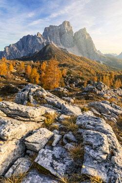 CLKMG119683 ancestral landscape at the Prendera mountain pasture, in the background the north face of mount pelmo, dolomites, san vito di cadore, belluno, veneto, italy