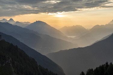 CLKMG120975 summer sunrise towards the vajont valley, the Friulian Dolomites and Oltre Piave Dolomites, Pordenone, Friuli Venezia Giulia, Italy