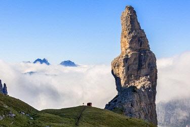 CLKMG121551 Campanile di Val Montanaia, iconic steeple of the Friulian Dolomites, Cimolais, Pordenone, Friuli Venezia Giulia, Italy