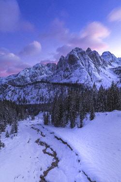 CLKMG122651 Sorapis peaks with Rudavoi stream in winter, Cortina d'Ampezzo, Belluno, Veneto, Italy