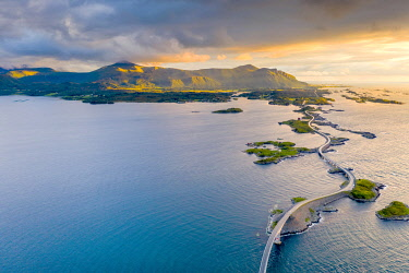 CLKRM116698 Sunset over the Atlantic Road connecting mainland and islands, aerial view, More og Romsdal county, Norway