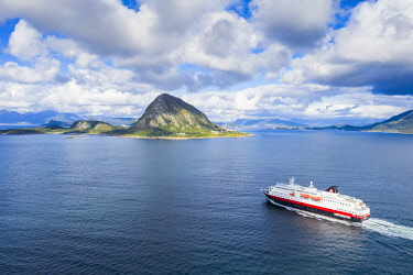 CLKRM116797 Aerial view of Hurtigruten ship during a daily trip from Alesund to  Geirangerfjord,  More og Romsdal county, Norway