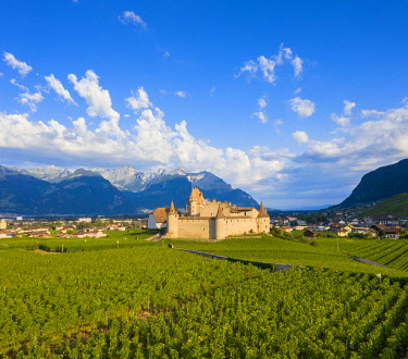 CLKRM118546 Aerial panoramic of Aigle Castle and village, canton of Vaud, Switzerland