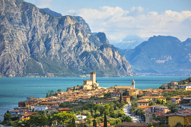 CLKST117859 Malcesine, a small village with an historic castle on Garda Lake coast. Verona province, Veneto, Italy.