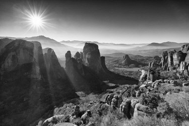 GRE1803AW Viewpoint above the Holy Monastery of Rousanou, Meteora, Thessaly, Greece