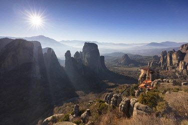 GRE1804AW Viewpoint above the Holy Monastery of Rousanou, Meteora, Thessaly, Greece