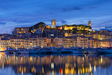FR403RF Le Vieux Port at Night , Cannes, South of France,