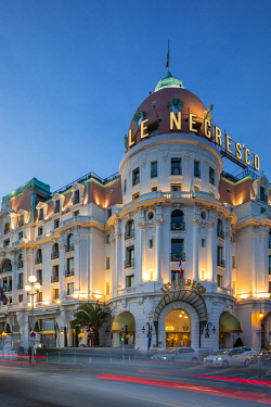 FR02833 The Hotel Negresco at Dusk, Promenade des Anglais, Baie des Anges, Nice, South of France,