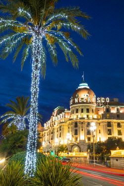 FR02836 The Hotel Negresco at Dusk, Promenade des Anglais, Baie des Anges, Nice, South of France,