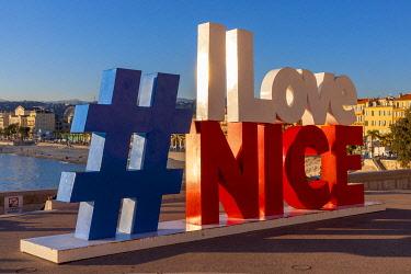 FR02850 I Love Nice Sign, Quai Rauba Capeu, Nice, South of France,