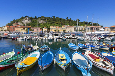 HMS3630971 France, Alpes Maritimes, Nice, the old port or port Lympia, Pointus (traditional fishing boats)